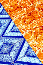 orange and blue tiles in Thailand