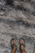 dirty feet  in the scorched earth