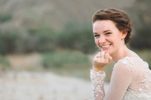 smiling face of a young bride