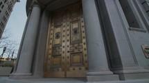 Downtown old bank door.