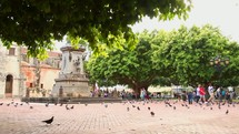 Town square with pigeons