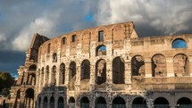time-lapse of clouds moving over the Coliseum in Rome