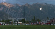 Mountains and a football field