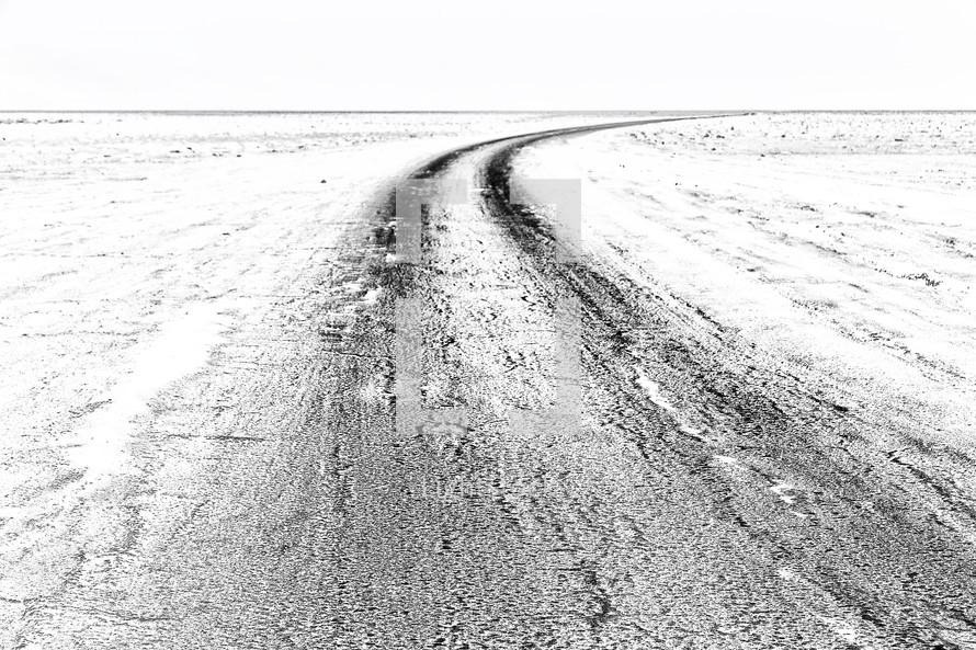 tracks through a desert of salt in Ethiopia