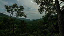 Timelapse of cloud movement over mountains and treetops.