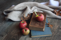 Vintage Old Bible and Books with Apples, Warm Blanket and Fall Leaves Over Rustic Wood Texture Background