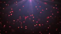radiating hearts in light