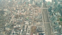 Aerial video of Toronto's City place as seen from a helicopter