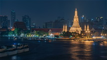The Buddhist temple Wat Arunin Bangkok at night