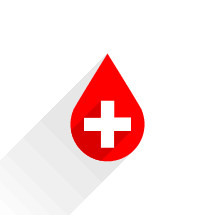 Donate blood red drop sign with white cross and shadow. Graphic element for design saved as an vector illustration in file format EPS