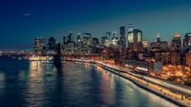 Traffic in New York City at night