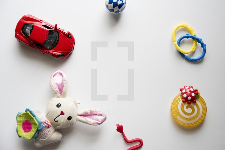 toys on a white background