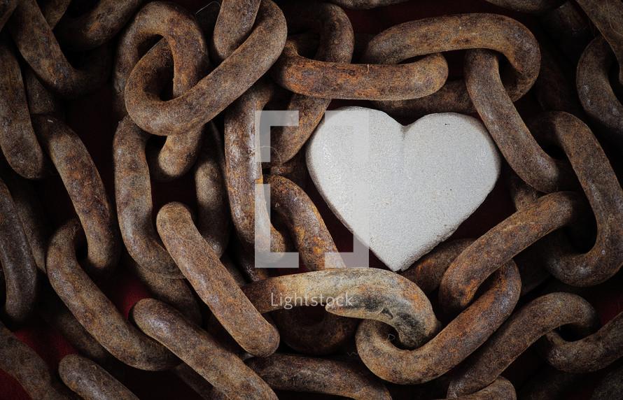 chain around a heart