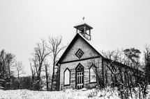small church and snow