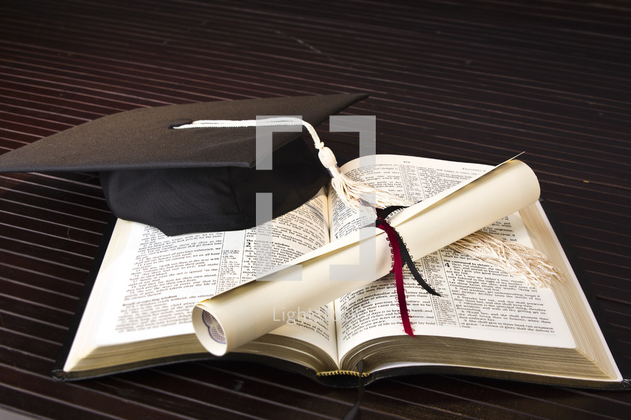 graduation, diploma, Bible, pages, cap, tassel