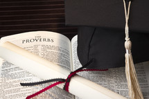 graduation, cap, diploma, Bible