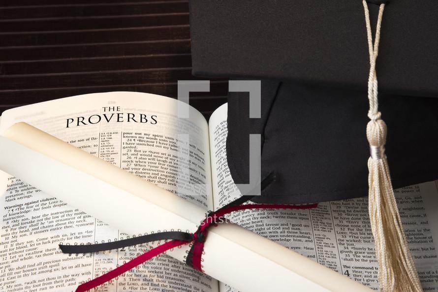 graduation, cap, diploma, Bible