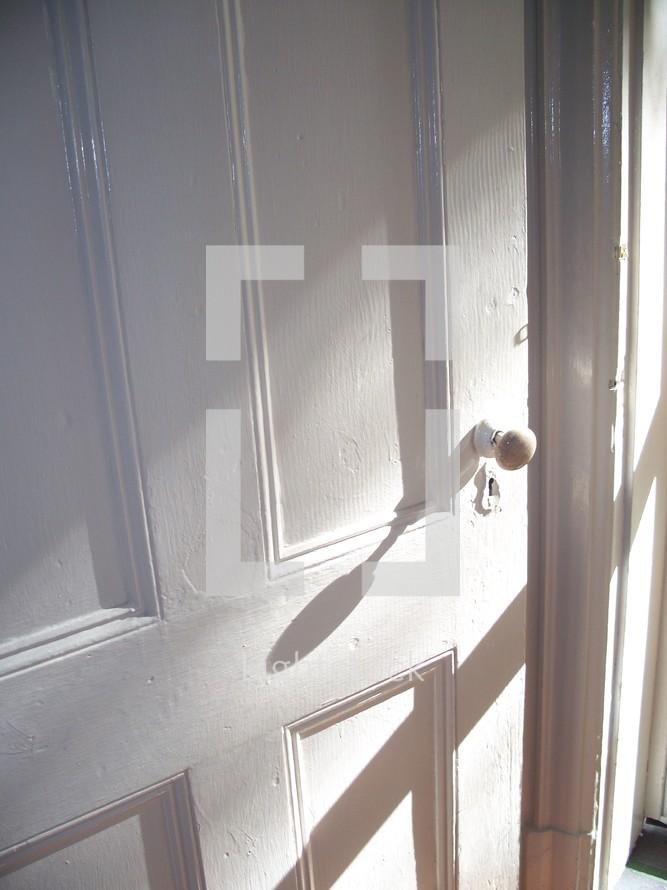 door knob on a white door