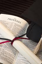 graduation, Bible, Proverbs, diploma, cap, tassel