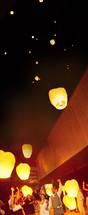 sky lanterns in sky