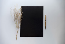 blank black paper with pen and plant sprig