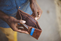 a man with an empty wallet