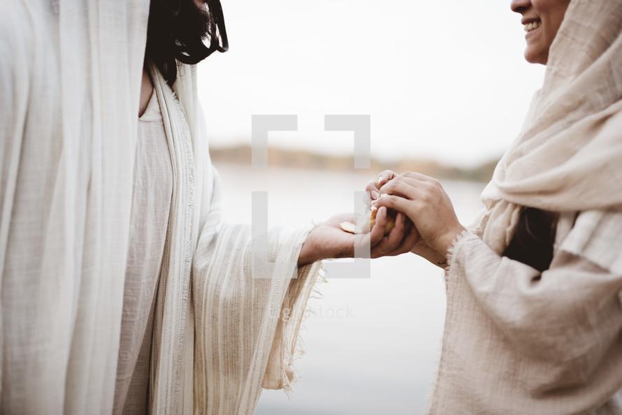 Jesus sharing bread