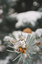 Engagement ring and wedding band perched on top of snow covered pine cone and pine needles.