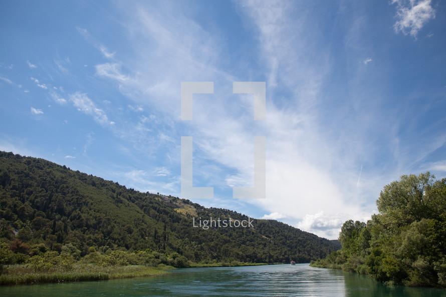 blue sky over a river