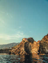 sea cliffs and village