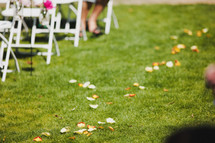 rose petals on the grass aisle of an outdoor wedding