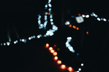 bokeh lights in darkness