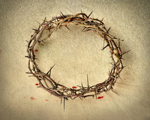 A crown of thorns and drops of blood.