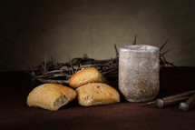 bread, communion, cup, three nails, crown of thorns, Good Friday, Last Supper