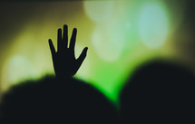 raised hands during a worship service