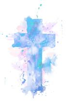 watercolor cross in blue