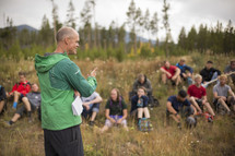 guide speaking to a group before a hike