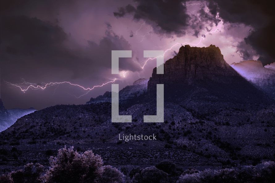 lightning over a mountaintop in Zion National Park