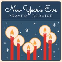 New Year's Eve prayer service retro vintage design