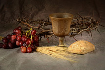 grapes, communion, bread, chalice, wine, crown of thorns, wheat grains