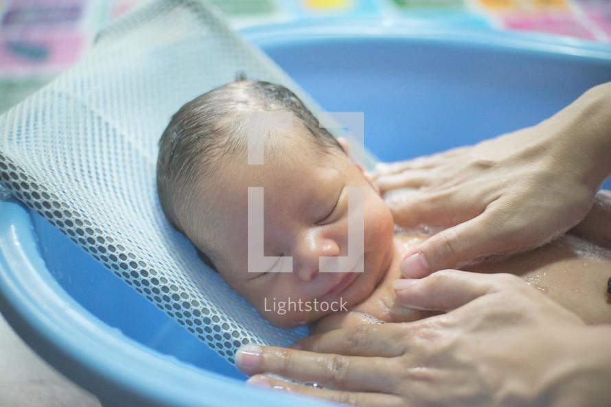 bathing a newborn