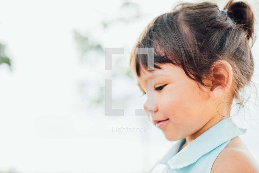 side profile of a young girl