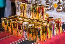 beautiful turkish tea glasses in tea shop