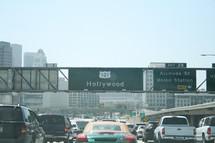 Hollywood freeway traffic.