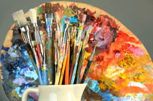 paint brushes and palate