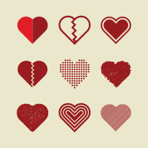 Vector illustrations set of various red hearts.
