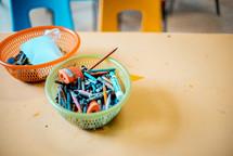 basket of crayons
