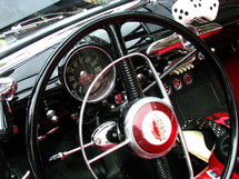 Interior of a vintage, classic car.