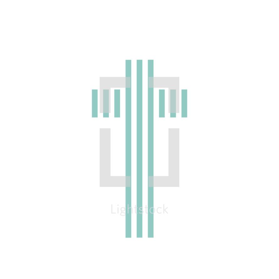 green striped cross