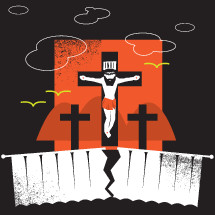 An illustration of Jesus dying on the cross.